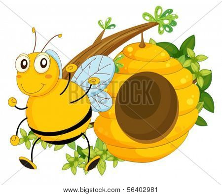 Illustration of a big bee near the beehive on a white background
