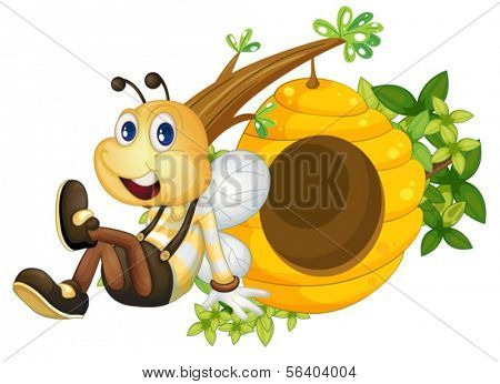 Illustration of a bee sitting beside the beehive on a white background