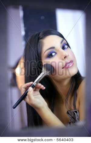 Indian Fashion Model Makeup With Brush