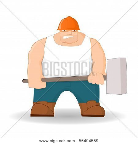 Big workman with hammer
