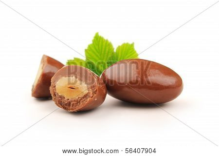 Almond chocolate dragees with clipping path