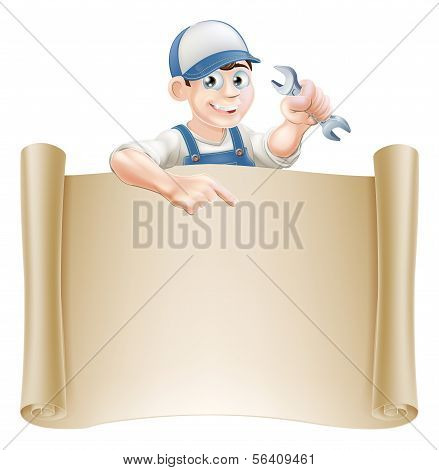 Cartoon Mechanic And Scroll