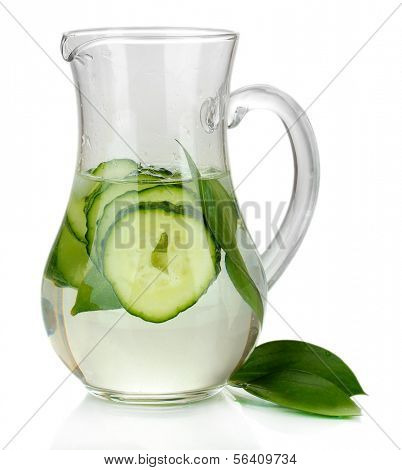 Cold water with cucumber and ice in pitchers isolated on white