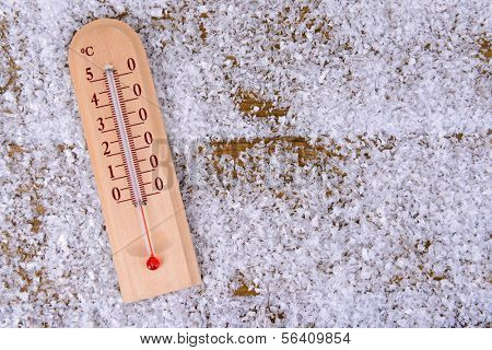 Thermometer in snow close-up