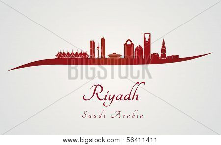 Riyadh Skyline In Red