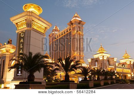 MACAU, CHINA - NOVEMBER 3, 2012: Galaxy - grand casino and hotel complex in the evening. Macau is the gambling capital of Asia and is visited by over 25 million people every year.