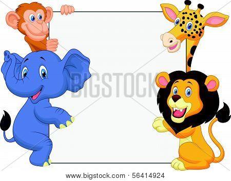 Wild animal cartoon holding blank sign