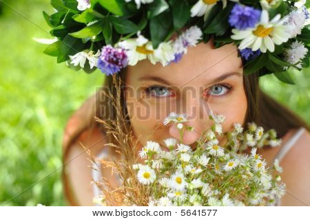 Girl With Circlet Of Flowers
