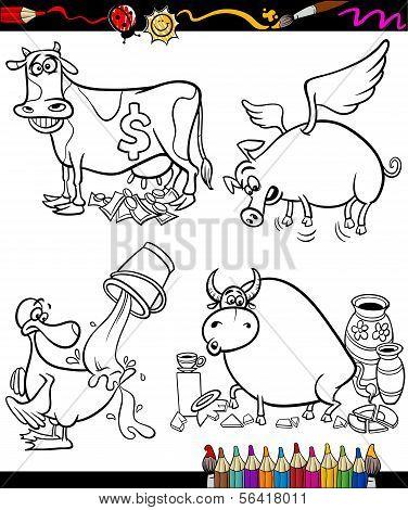 Sayings Cartoon Set For Coloring Book