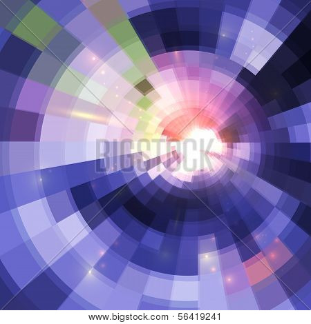 Abstract violet shining circle tunnel background