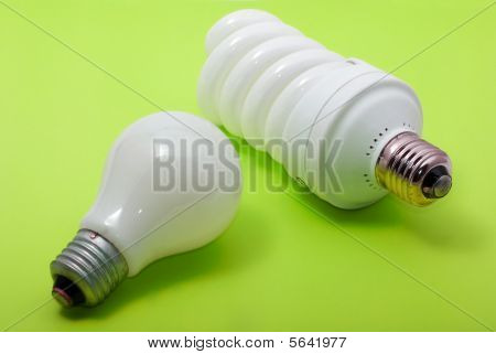 Energy Efficient Bulb And A Ordinary Electric Bulb