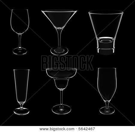 Various Glasses On Black