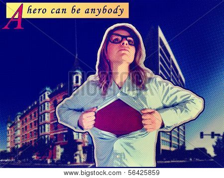 a nerdy girl in the role of a super hero