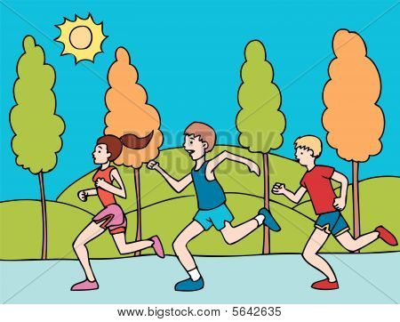 marathon running. people running in a race cartoon style. download preview