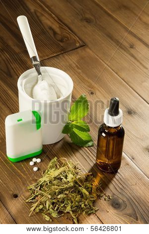 Natural sweetener stevia in various forms like dried liquid powder and dissolvable tablets