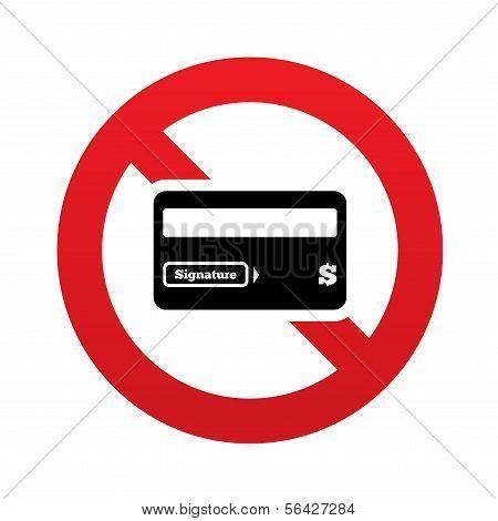 Nenhum ícone de sinal de cartão de crédito. Símbolo do cartão de débito.