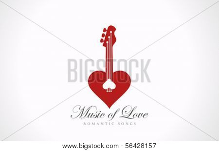 Romantic Guitar - Music of Love vector logo design template. Happy Valentine's day! Valentine Party concept icon.