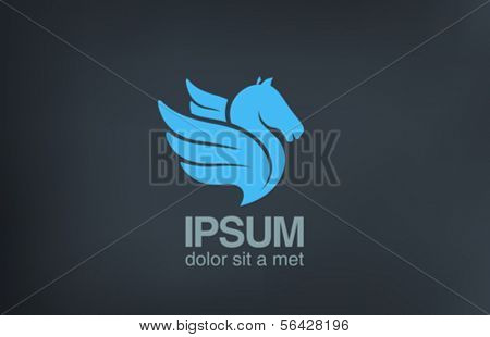 Pegasus - Flying Horse with Wings vector logo design template. Speed freedom innovations creative concept icon.