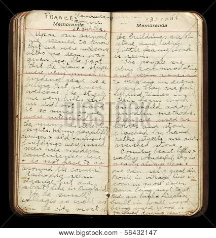 American WWI Soldier's Diary Pages