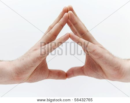Men's hands . A common gesture. Signs and symbols of emotions