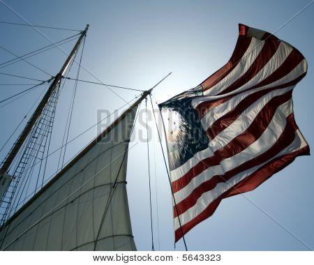 American flag on ship