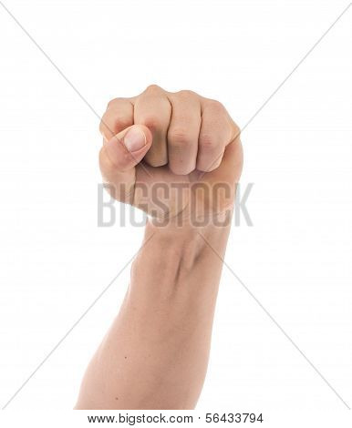 Masculine Clenched Fist on a White Background, Defiant Symbol