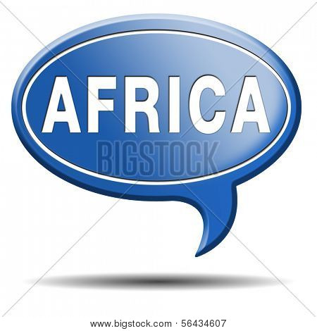 Africa icon or button continent tourism vacation and travel sign