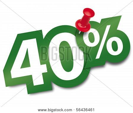 Forty Percent Sticker Fixed By A Thumbtack. Vector Illustration