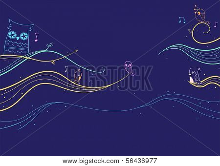 Illustration of a Colorful Abstract Banner Design Set Against a Bluish Background
