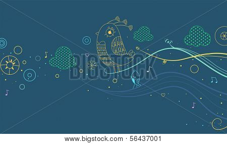 Illustration of a Colorful Abstract Banner Design Set Against a Greenish Background