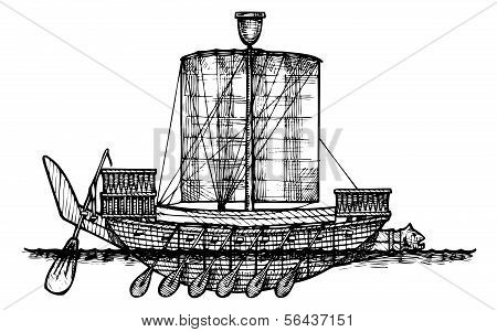 Ancient Egyptian Warship.