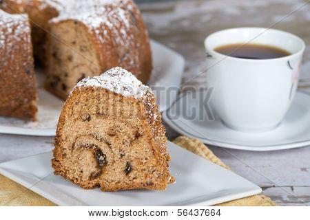 Slice of homemade bundt cake
