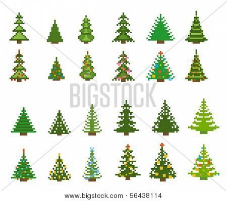 set of pixel art for christmas tree