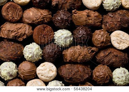 top view of various chocolate truffles