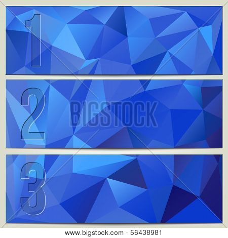 Vector infographic enumerated modern presentation blue banner set