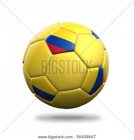 Colombia soccer ball isolated white background