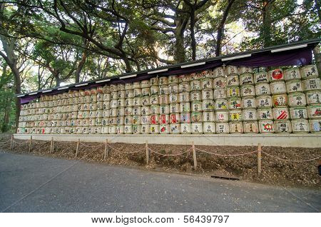 Tokyo, Japan-nov 20 : Barrels Of Sake Donated To The Meiji Jingu Shrine In Tokyo, Japan