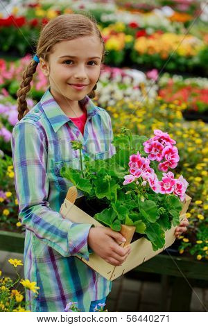 Garden center, planting - Lovely girl holding flowers in garden center.