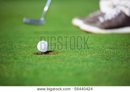 golf ball falling into hole after putt on green
