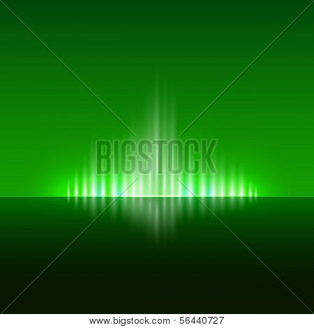 Vector abstract dark green background with flame