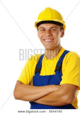 Happy Young Worker Fold His Arms And Smile