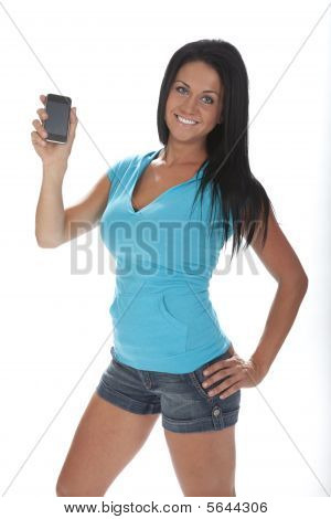 Pretty Woman Holding Cell Phone