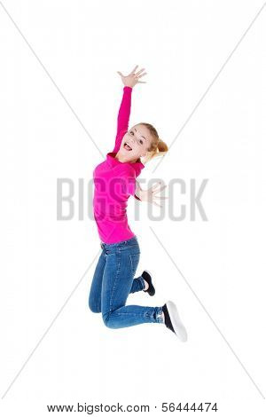 Young caucassian woman is jumping. Isolated on white.