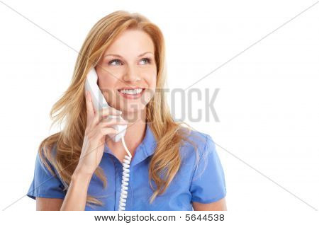 Business Woman With Telephone