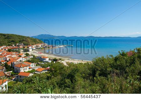Panoramic view of beautiful bay and small town Susak on the Susak Island, Croatia.