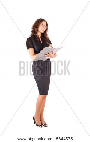 Attractive Businesswoman Writing