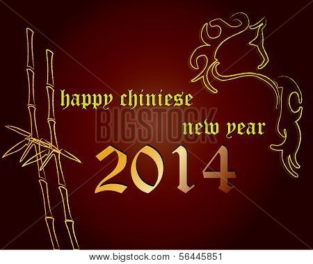 Horse with Bamboo on Chinese New Year Card.