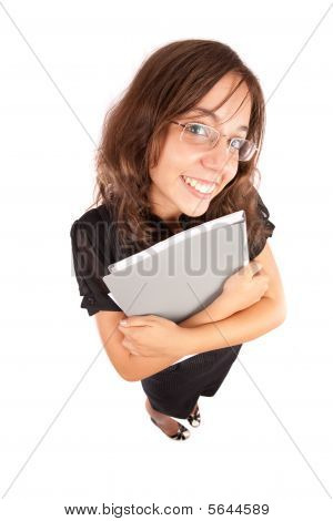 Funny Wide Angle Portrait Of A Businesswoman
