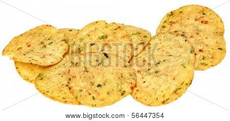 Gluten Free Jalapeno Corn Chips in a Pile over white.
