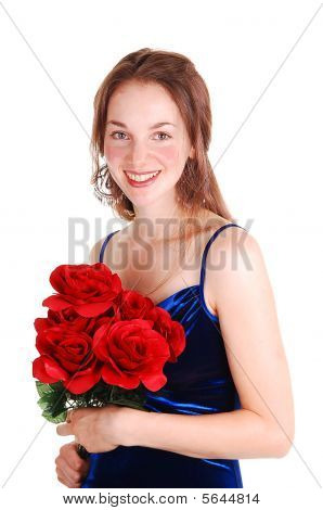 Pretty Girl With Red Roses.